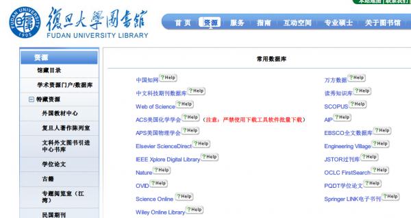 复旦大学图书馆提供的学术数据库目录